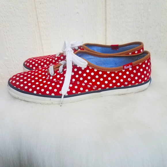 Keds red and white polka dot sneakers size 8